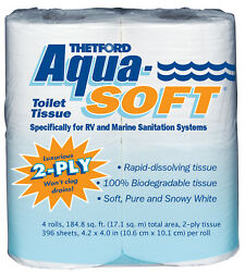 Aqua-soft Toilet Tissue - Toilet Paper For Rv And Marine - 2-ply - 4 Rolls - The