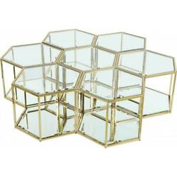 Meridian Furniture Sei Modular Stainless Steel And Glass 7 Piece Coffee Table