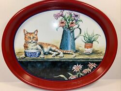 Campbelland039s Soup Oval Tray Cat On The Porch Jeanne Mack Signed Issued 1995 Euc