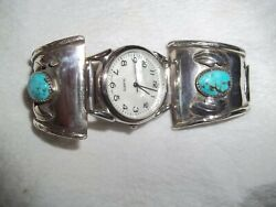 Vintage Cherokee Sterling And Turquoise Watch Band Signed Hlr