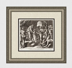 Wow 1649 Raphael Engraving The Queen Of Sheba And King Solomon Framed Signed Coa