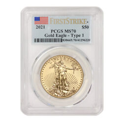2021 50 American Gold Eagle Pcgs Ms70 First Strike 1oz 22kt Coin W/ Flag Label