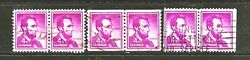1958 Us Stamp, 1036a, 4c Abraham Lincoln, 3 X Pair Of 2, Fu