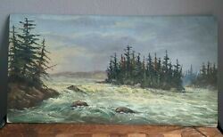 Fine Antique Americana River Painting For Framing Excellent Artwork
