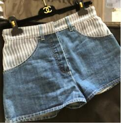 Denim Shorts Short Pants Stripe Lace Blue Coco Cc Womenand039s 34 From Japan
