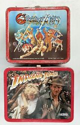 2 Vintage Metal Lunch Boxes Thundercats Indiana Jones 1984 1985 Lot