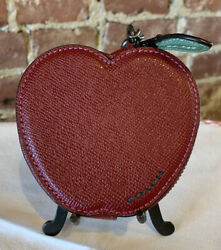 Coach Red Leather Apple Coin Purse With Zipper And Chain 4andrdquo