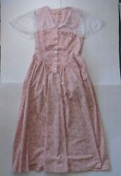Vtg Recollections Medium Floral Lace Prairie Dress Boho Sleeveless Pink Buttons