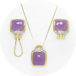 14k Yellow Gold, Diamond And Lavender Jade Omega Clip Earrings And Pendant Tpj