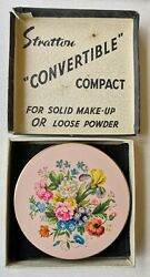 1940and039s Antique Stratton Floral Compact In Original Box And Circular Pattern Base