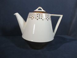 Coffee Pot Hall China Flare Ware White Gold Mid Century Teapot Usa 15 Cup Large