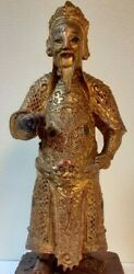 Antique Chinese Ming/earlier Dynasty Gilt Red Lacquered Carved Wood Figurine