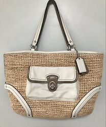 """Coach 22904 Natural Knit Straw And Cream Leather Tote Bag 17x10x3"""" $49.99"""