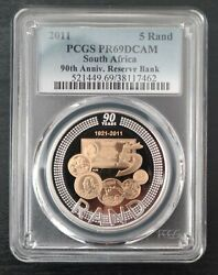 South Africa Silver Proof Bimetal 5 Rand Coin 2011 Year 90th Bank Pr69dcam Pcgs
