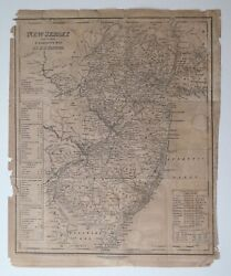 Antique Map New Jersey 1841 Geography By Tanner Ny Philadelphia Engraving Knight