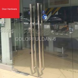 1pair Stainless Steel Modern Door Pull Handle Entrance Entry Square Long Handle
