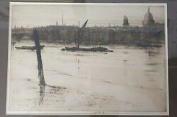 Low Tide London - Ernest S. Lumsden Original Etching And Drypoint