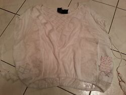 Nwt 98 Ladies Free People Lace Top Peasant Style Tassles Sz Xs Made India Rayon
