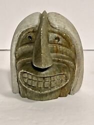 Signed George Henry Of Six Nations Hand Carved Soapstone Dual Faced Mask