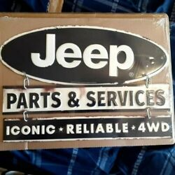 Jeep Part And Services Metal Sign With Raised Letters 14 By 12 Inches Gas Shop