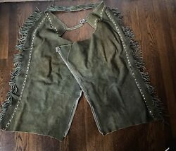 Vintage 60and039s Olive Green Suede Leather Western Cowboy Chaps Pants