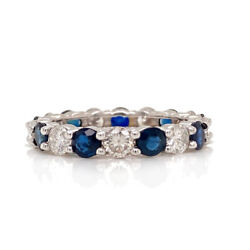 Solid 18k White Gold Genuine Diamond And Sapphire Eternity Band Size 6 3.4g