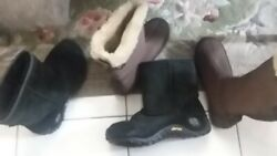 Ladies Lot Boots Winter Size 8 Black Suede Merrell And Brown Aetrex Sz. 7