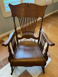 Antique Rocking Chair - 1903 Tiger Oak Beautifully Restored Excellent Condition