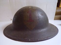 Wwi U.s. Doughboy Helmet Period Applied Ist Infantry Division Insignia
