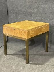 Milo Baughman Style Burl Olive Wood And Brass Side Table By Tomlinson Furniture