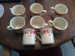 Must See Lenox Holiday Gold Mug Red Ribbon Accent Collection 12 Oz 3 5/8