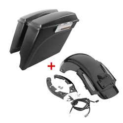 Matt 5 Stretched Saddlebags Rear Fender Fit For Harley Touring Road Glide 09-13