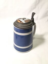 Antique Hand Painted Lid Lidded Beer Stein Tankard Villeroy And Boch Mettlach 19th