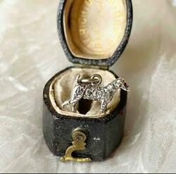 Best Antique Victorian Tiny Silver And Diamond Dog Charm Pendant Gold Bale