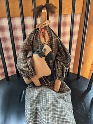 Country Primitive Raggedy Tea Stained Fabric Doll And Her Sheep