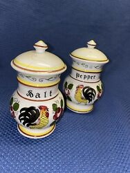 Py Ucagco Roosters And Roses Salt And Pepper Set