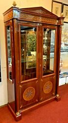 Empire Style China Cabinet/curio Display Showcase W/ 3 Glass Shelves