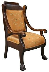 Antique American Empire Mahogany Parlor Club Library Chair Paw Foot Scrolled