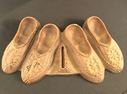 Pipe Holder/match Holder By Ornawood Circa 1950s Two Pair Moccasin Vintage