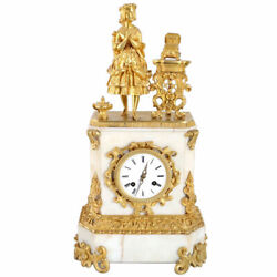 Antique French Napoleon Iii Fire Gilt Bronze And Marble Figural Mantel Clock 19th