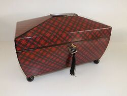 Tartanware Tea Caddy And039royal Stuartand039 With 3 Division Interior