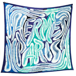 Hermes Scarf Stole A La Plume Navy Blue Green Feather Silk 100 Woman New 140 Cm