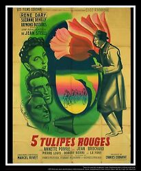 5 Five Tulipes Rouges 4x6 Ft French Grande Movie Poster Original 1948
