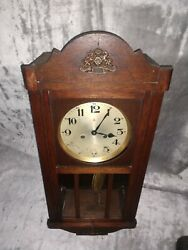 Antique Germany Gustav Becker Wall Clock With Chime Needs Repaired