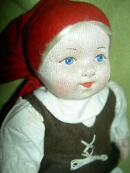 Antique, Labeled 8092 Made In Soviet Union, 10 Stockinette Cloth Russian Doll