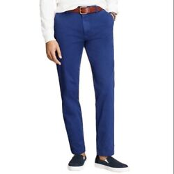 Men's Nwt Brooks Brothers Red Fleece Blue Chinos 33 X 32 Pants Flat Front