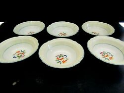 6-cereal Bowls -j And G Meakin-leaves And Fruit-yellow-green-blue-sol-391413-