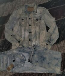 True Religion Brand Jeans Bleached Mineral Reef Ricky Super T Sz 32 Large Jacket