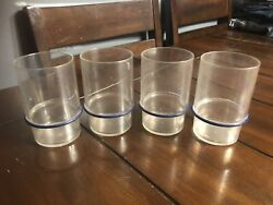 4 Vintage Tupperware Blue Striped Acrylic Tumblers Free Shipping