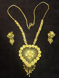 Classy Handmade Dubai Chain Necklace Earrings Set In 916 Stamped 22k Yellow Gold